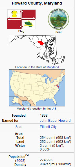 Map of Howard County Maryland
